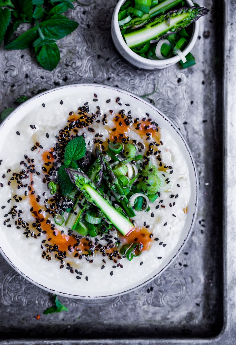 kleik ryżowy ze szparagami