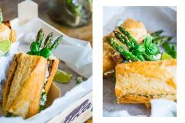 grilowana kanapka z zielonymi szparagami