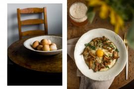polenta z kurkami i jajkiem