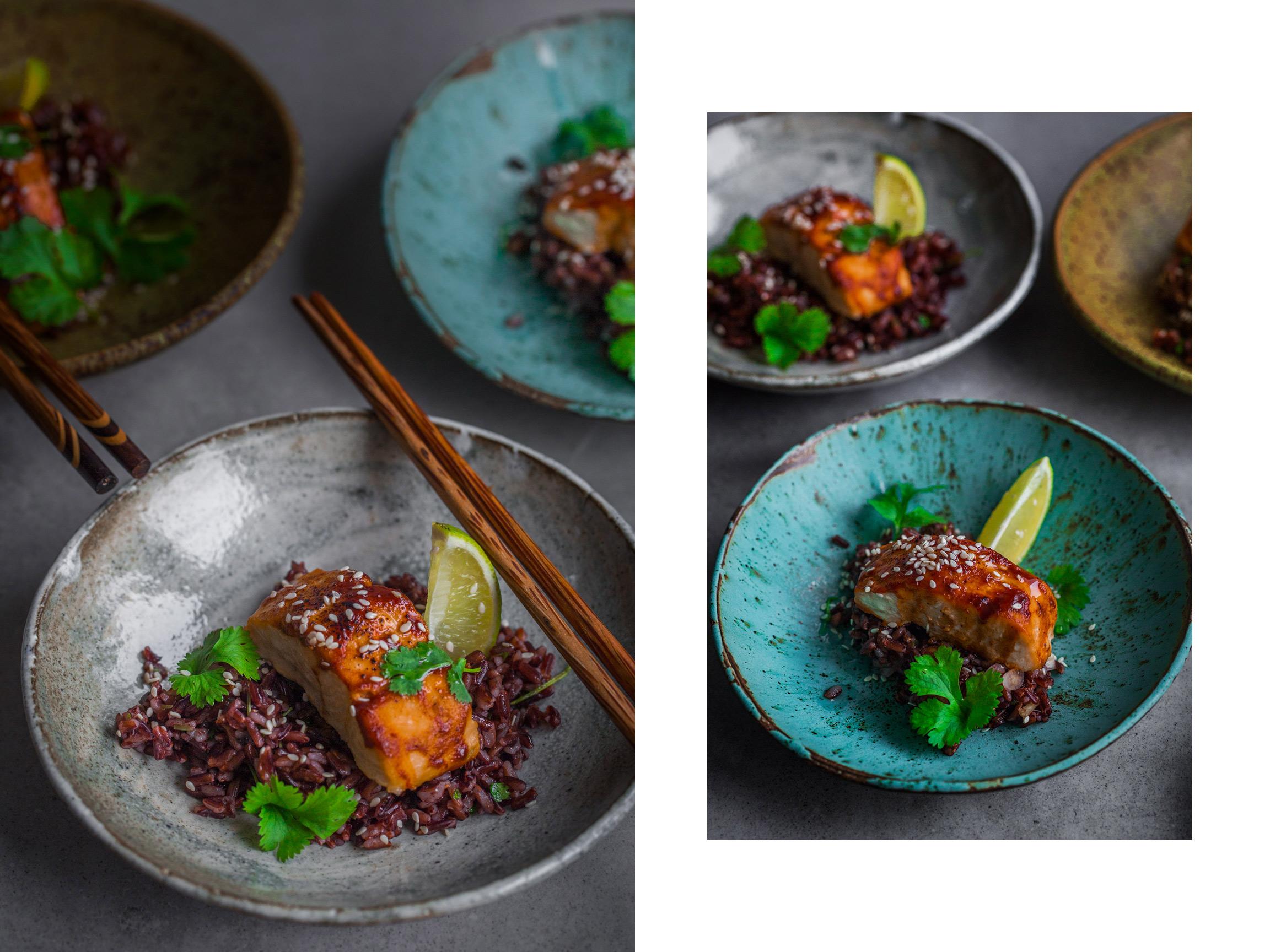 Pikantny łosoś na czarnym ryżu